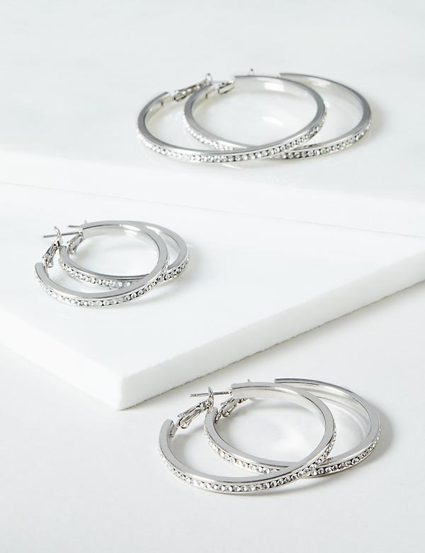 Hoop Earrings 3-Pack - Pave