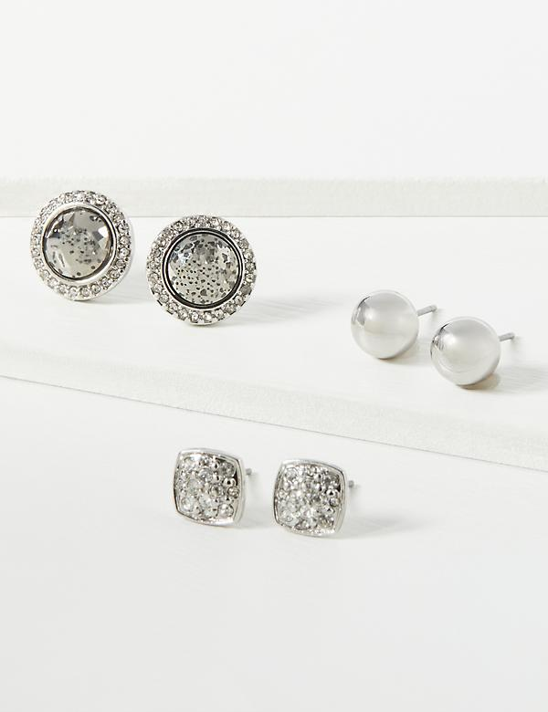 Stud Earrings 3-Pack - Faceted & Pave Stones