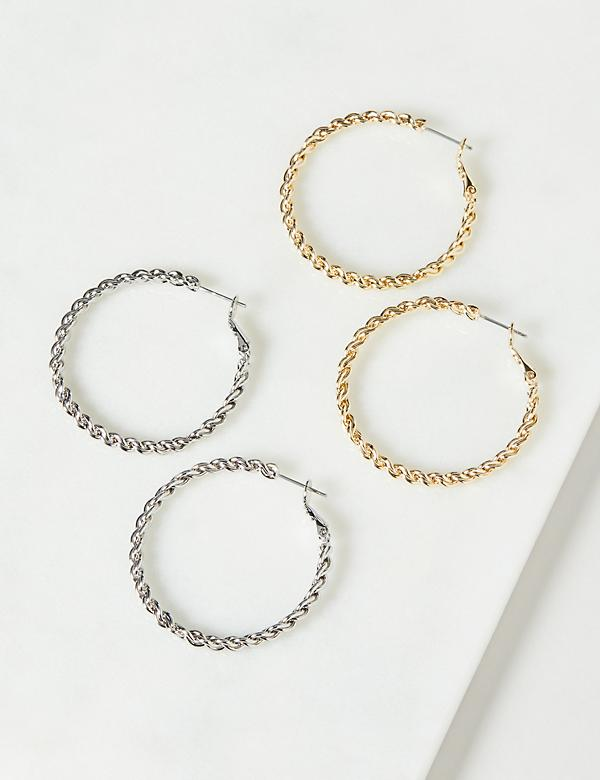 Hoop Earrings 2-Pack - Textured Rope