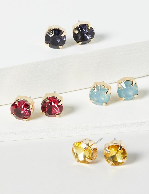 Stud Earrings 4-Pack - Multi-Color Faceted Stones