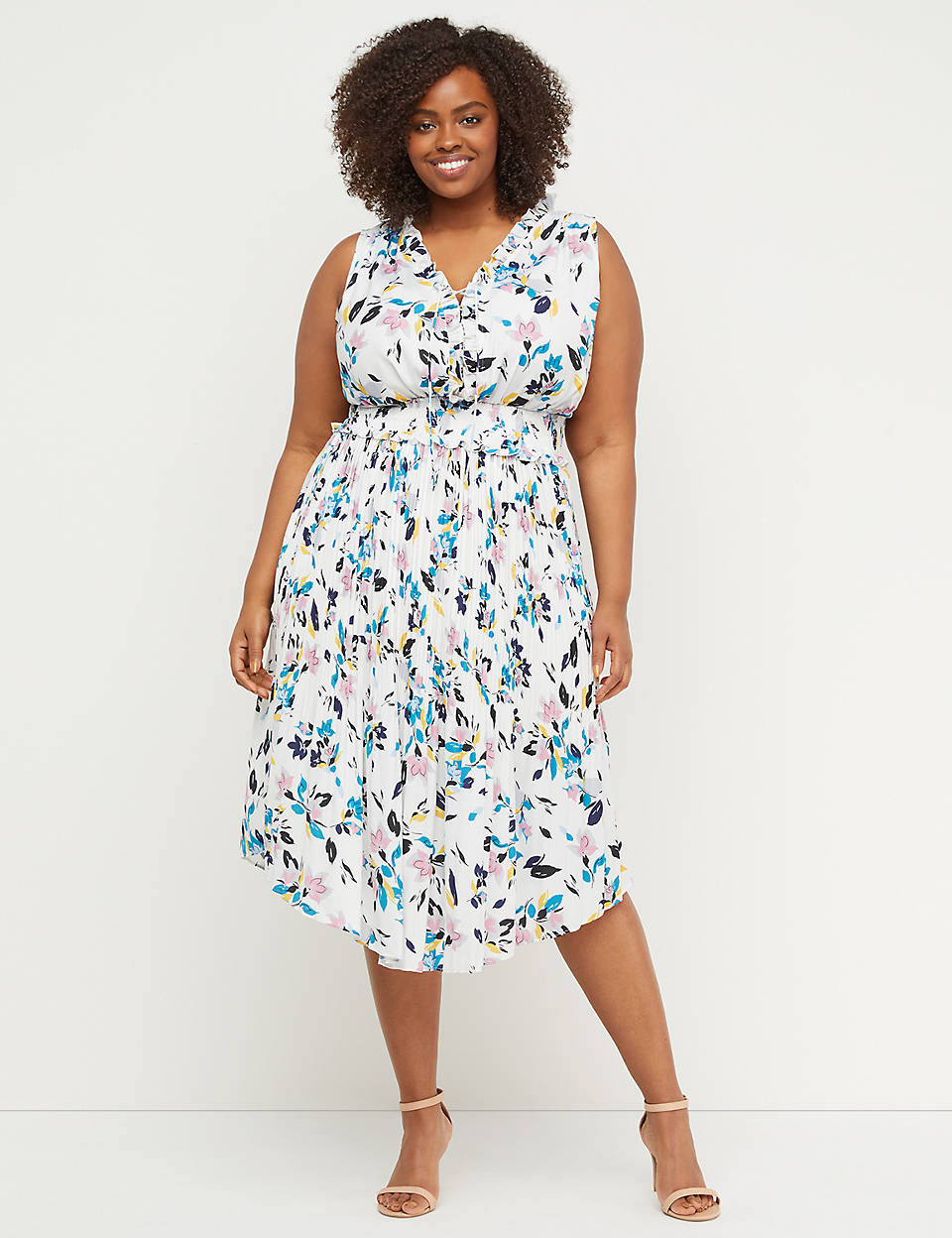 db5f83d0a Lace-Up Midi Dress with Smocked Waist | Lane Bryant