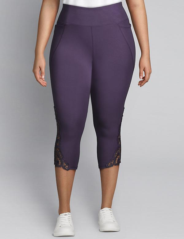 LIVI Active Signature Stretch Capri Legging - Crochet Hem