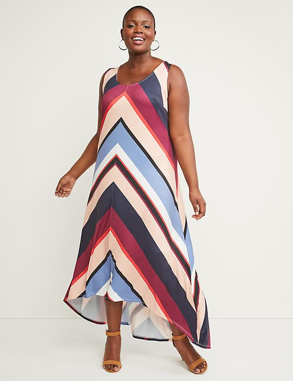 Chevron Stripe High-Low Maxi Dress