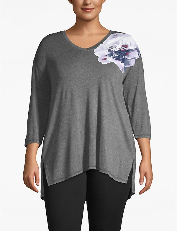Active Open-Back Floral Graphic Tunic Tee