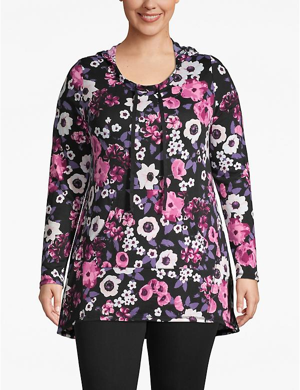Active Floral Hooded High-Low Top
