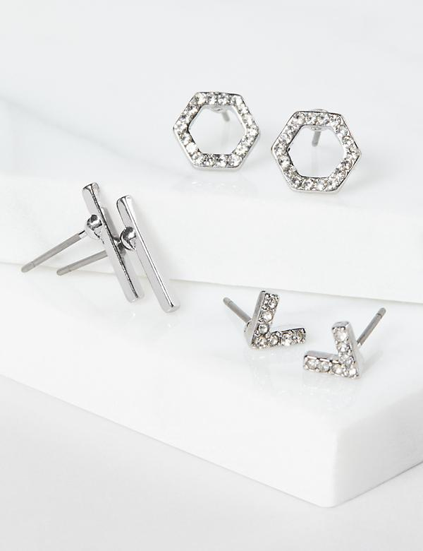 Stud Earrings 3-Pack - Geometric