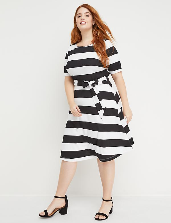 Beauticurve Fit & Flare Dress - Stripe