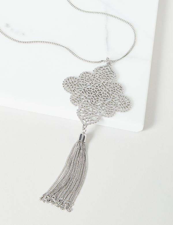 Diamond Filigree Tassel Necklace