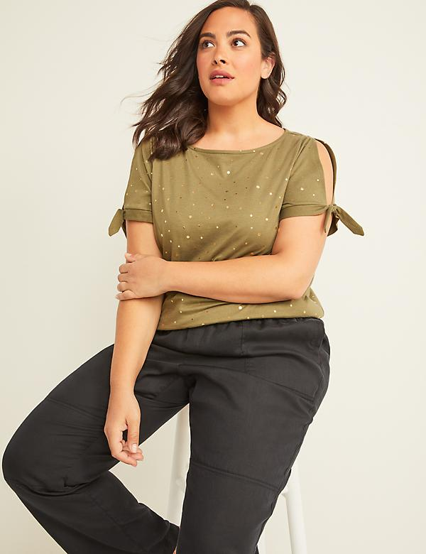 Foil Dot Swing Tee - Tie Sleeves