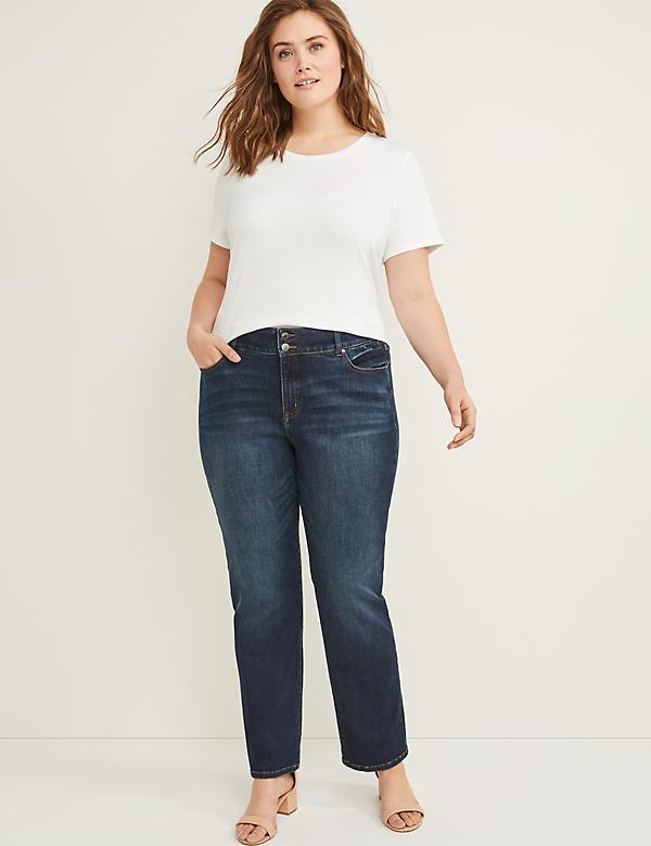 Tighter Tummy High Rise Straight Jean - Master Rinse Dark Wash