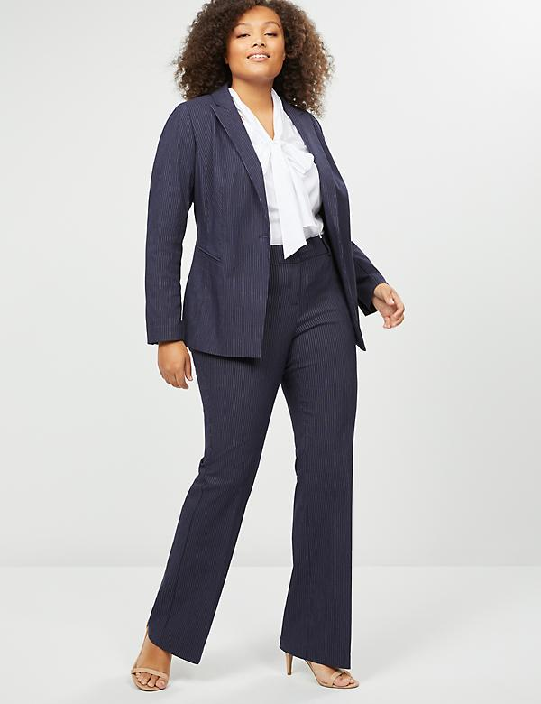Allie Sexy Stretch Boot Pant - Navy Pinstripe