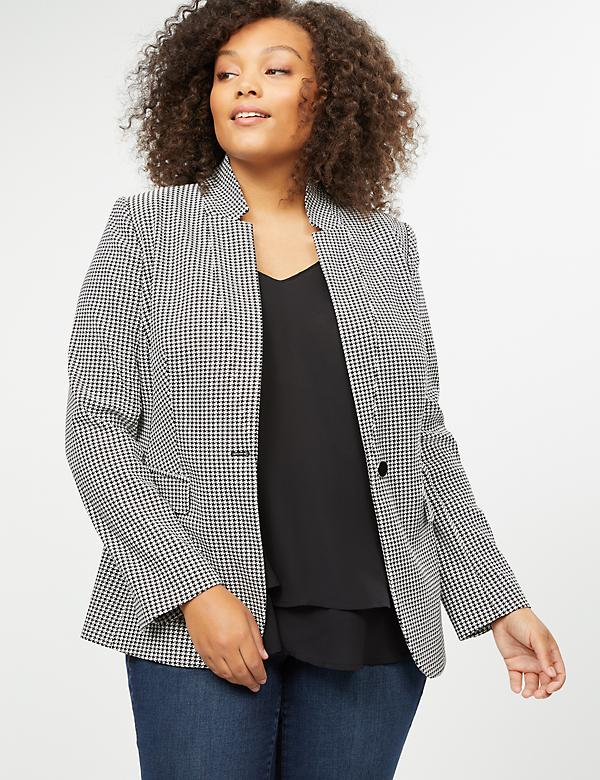 Bryant Blazer with Stand-Up Collar - Sexy Stretch Houndstooth