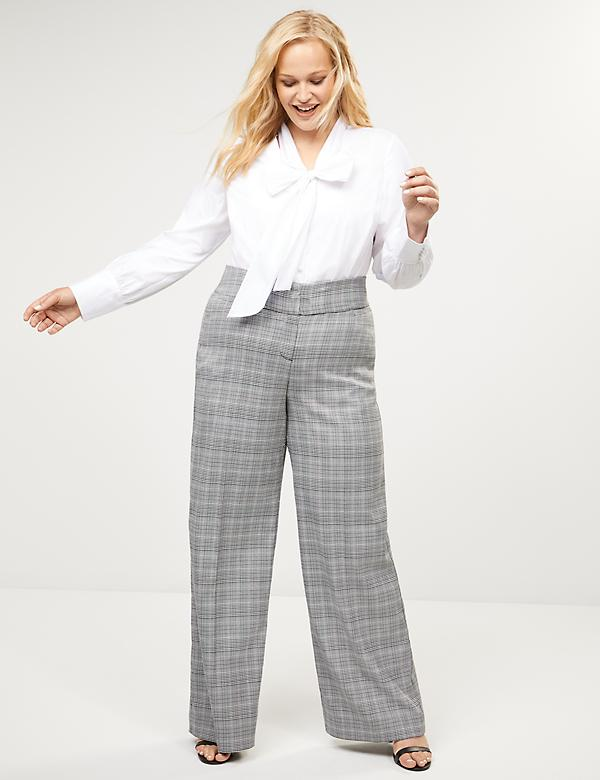 Allie Tailored Stretch Wide Leg Pant - Plaid