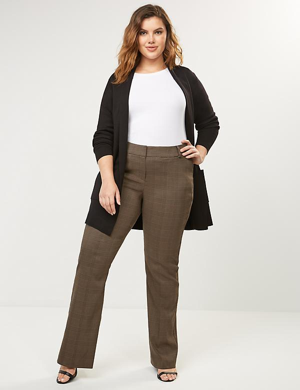 Curvy Allie Sexy Stretch Boot Pant - Brown Plaid