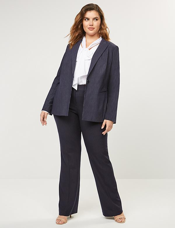 Curvy Allie Tailored Stretch Trouser - Navy Pinstripe