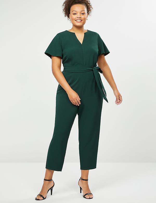 Lena Flutter Sleeve Notch-Neck Jumpsuit