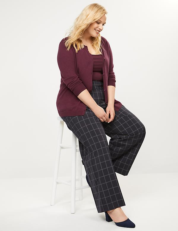 Allie Tailored Stretch Wide Leg Pant - Windowpane Plaid