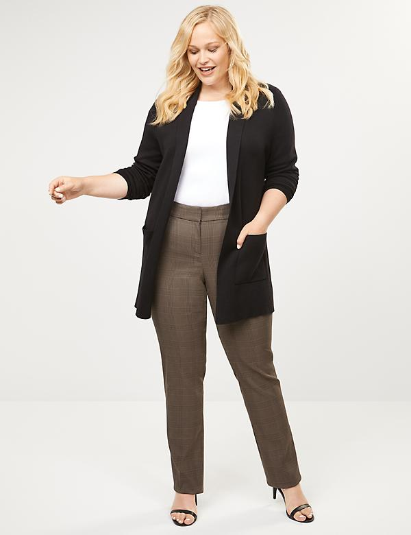 Allie Sexy Stretch Straight Leg Pant - Brown Plaid