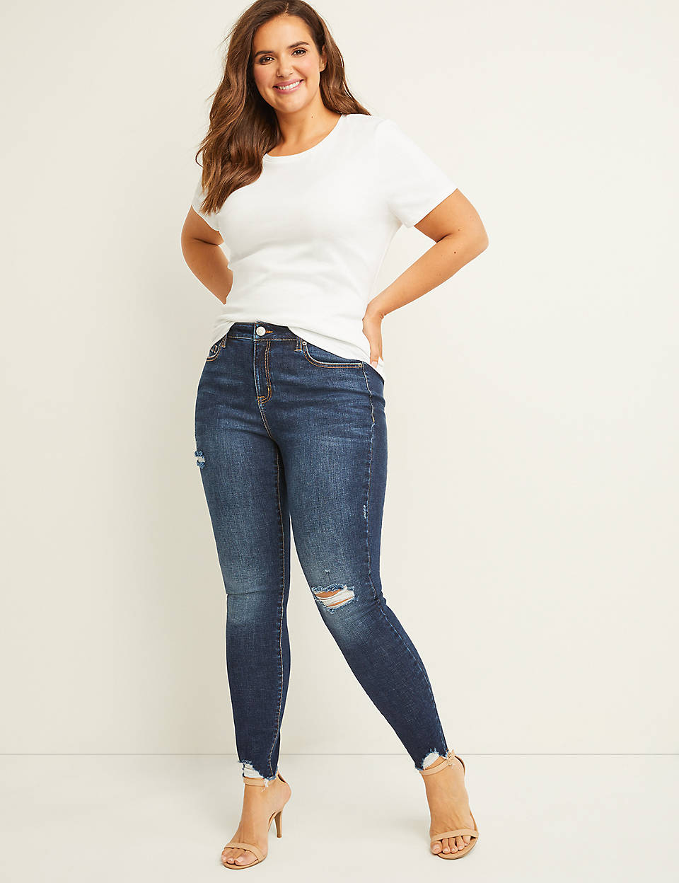 size 7 various colors new collection Signature Fit Skinny Jean - Dark Wash With Destruction