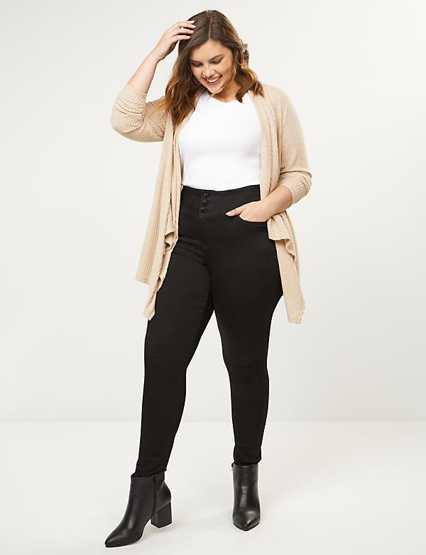 High Rise 3-Button Jegging-Black