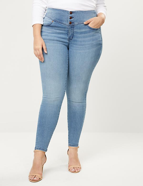 High Rise 3-Button Jegging-Light Wash