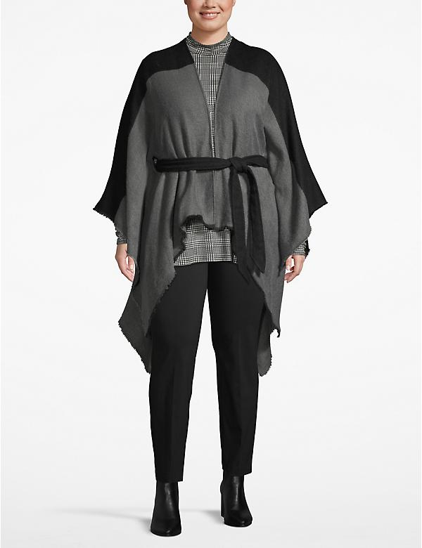 Belted Colorblock Poncho Overpiece