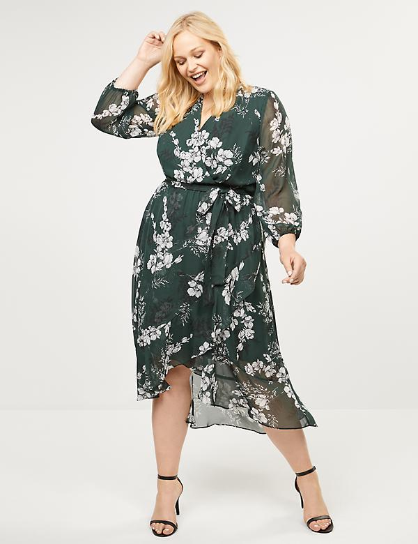 Floral Chiffon Faux-Wrap Midi Dress