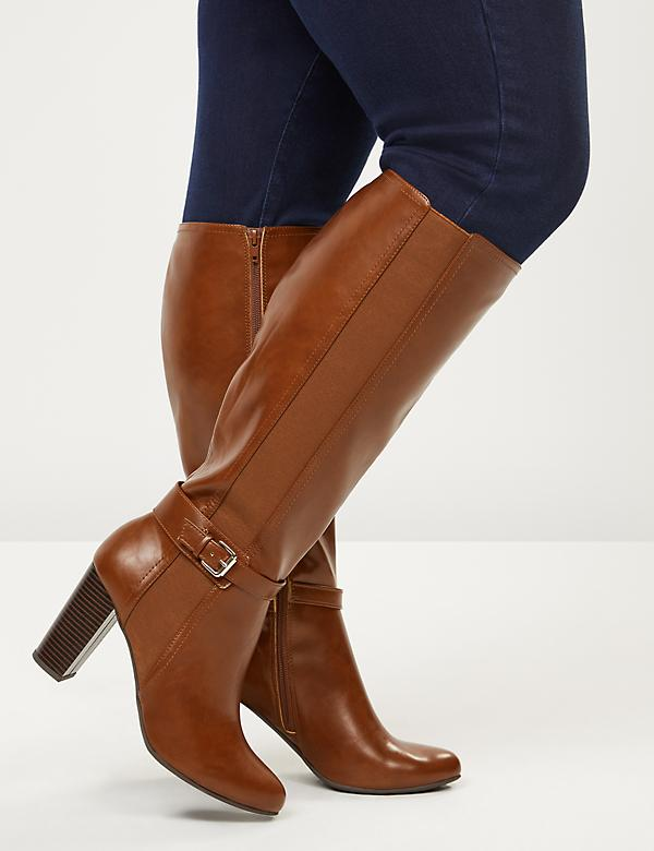 High Heel Ankle-Strap Riding Boot