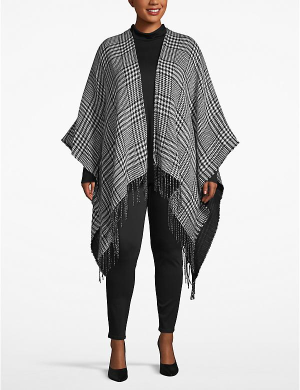 Reversible Houndstooth Poncho Overpiece