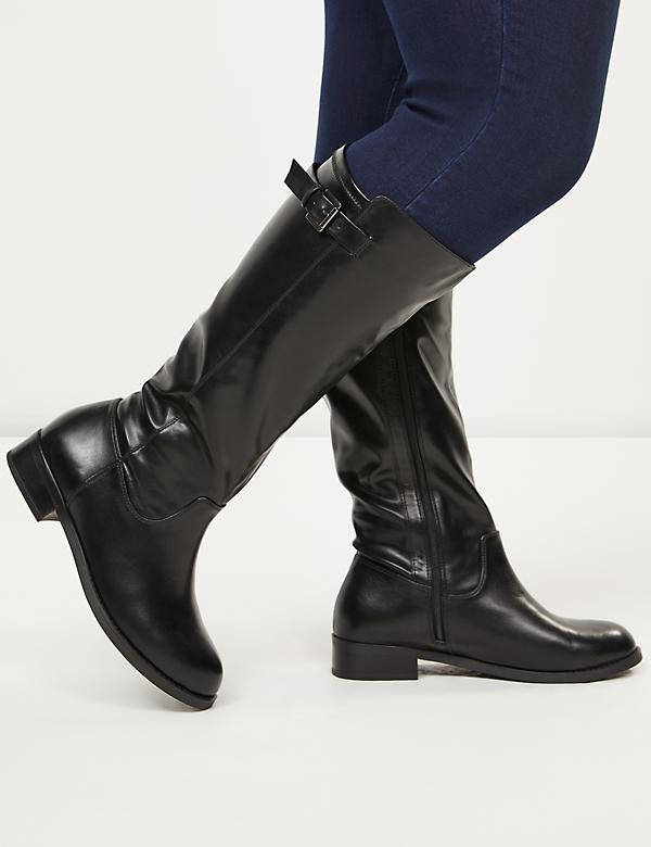 Buckle Strap Riding Boot - Wide Calf