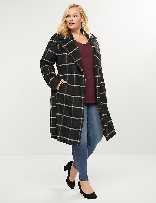 Windowpane Plaid Wrap Coat