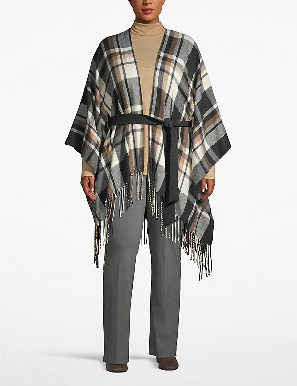 Belted Plaid Poncho Overpiece
