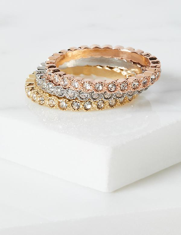 Mixed Metal Pave Rings 3-Pack