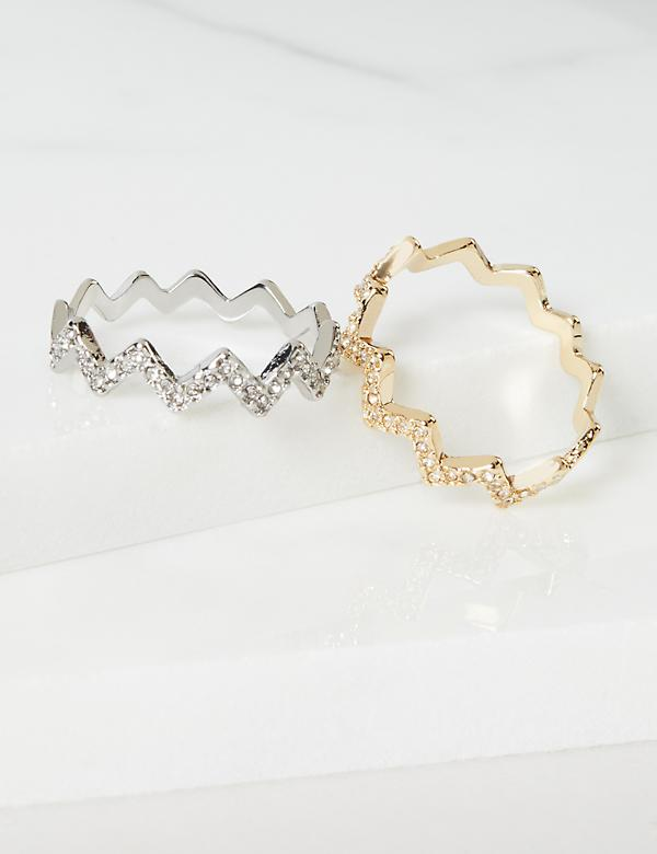 Chevron Pave Rings 2-Pack