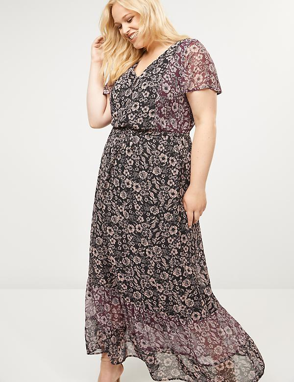 Button-Front Floral Maxi Dress