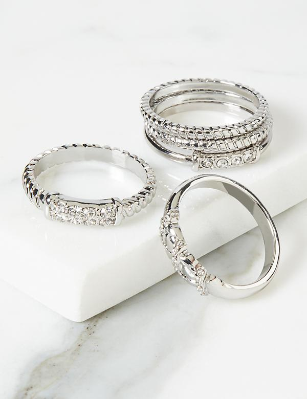 Textured Pave Rings 5-Pack