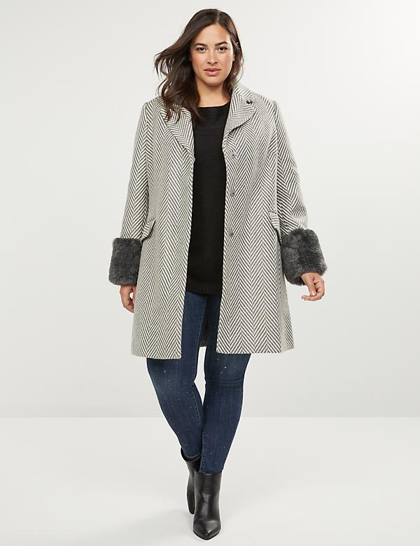 Classic Herringbone Coat With Faux Fur Cuffs