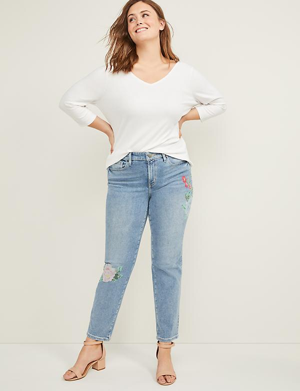 High Rise Straight Jean - Floral Embroidery