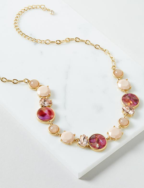 Pink Stone & Resin Statement Necklace