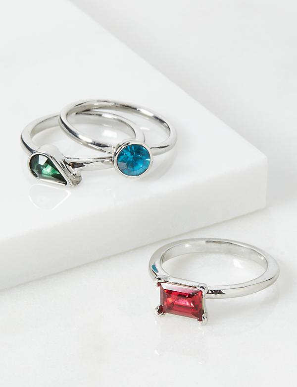 Muti-Faceted Stone Rings 3-Pack