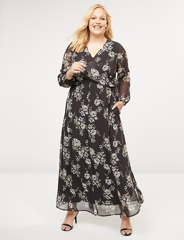 Floral Wrap-Top Maxi Dress