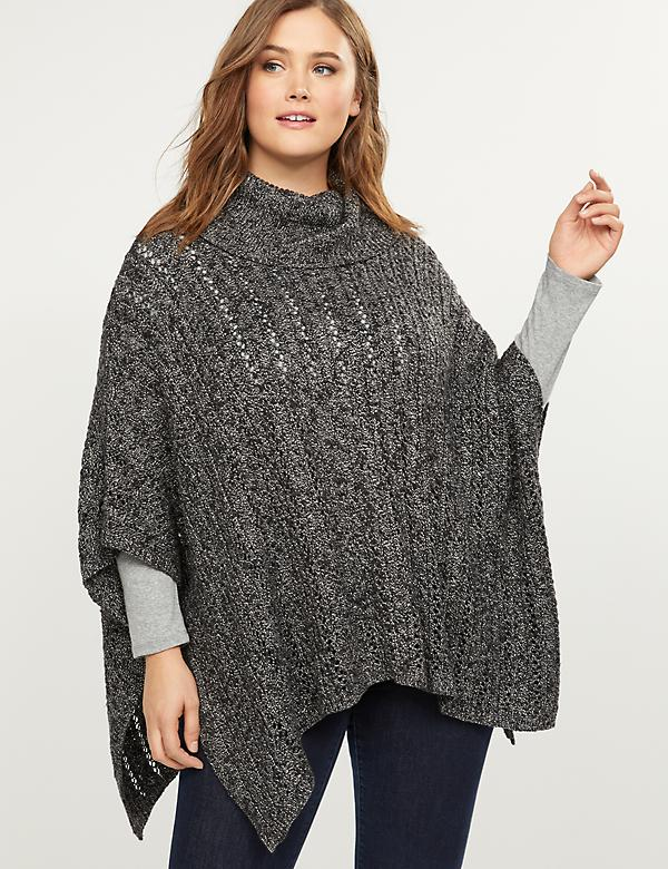 Mixed Stitch Cowl-Neck Poncho