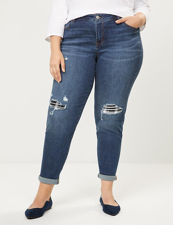 Signature Fit Boyfriend Jean - Plaid Backed Destruction