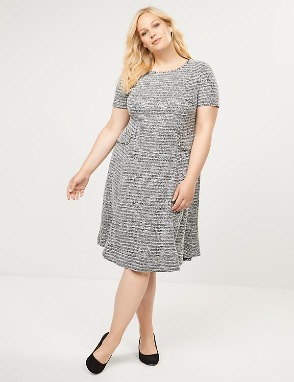 Tweed Fit & Flare Dress with Faux Pockets