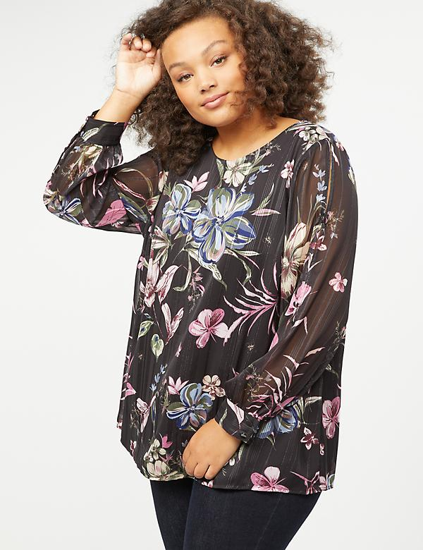 Floral Split-Sleeve Blouse