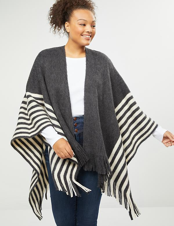 Fringed Wrap Ruana - Striped