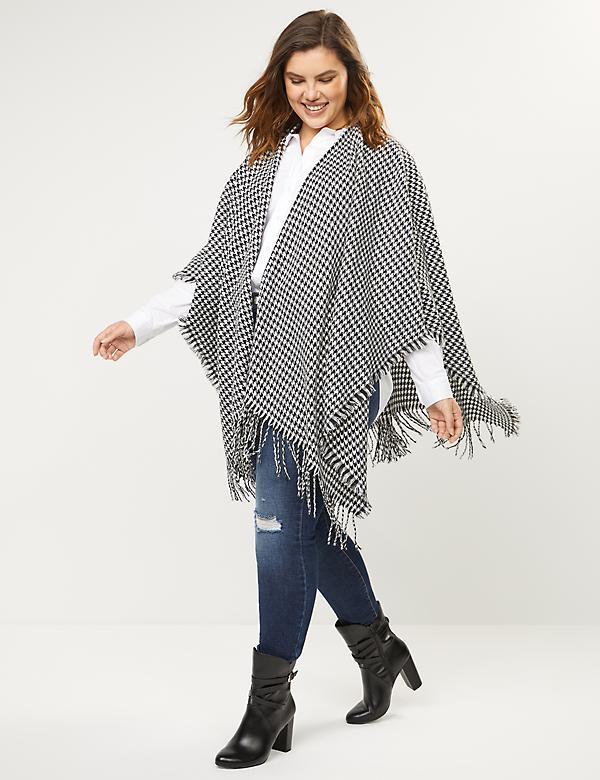 Fringed Wrap Ruana - Houndstooth