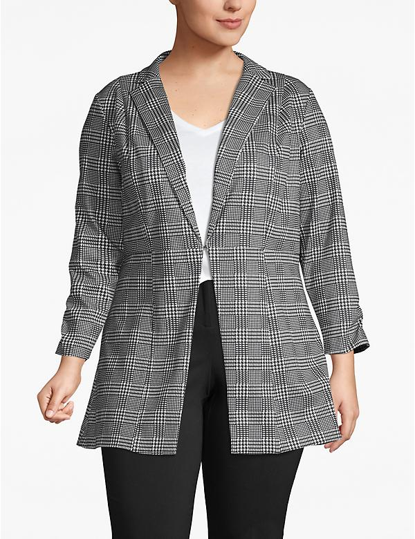 Plaid Ruched-Sleeve Ponte Blazer