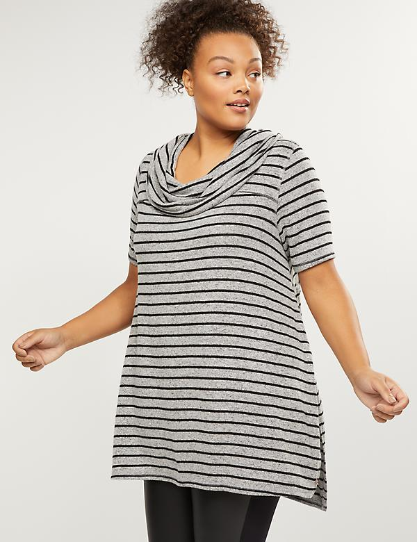 LIVI Active Striped Cowl-Neck Tunic