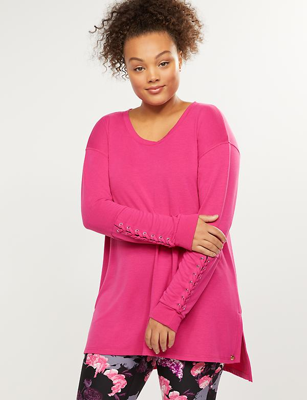 LIVI Active French Terry Sweatshirt - Lace-Up Sleeves